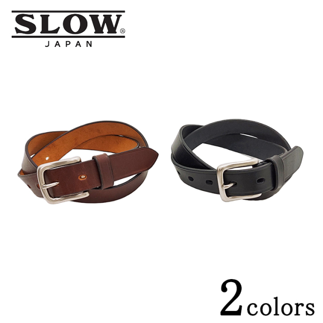 SLOW スロウ herbie 27mm plain belt ハービー プレーンベルト HS68J  レザー ブラック ブラウン メンズ
