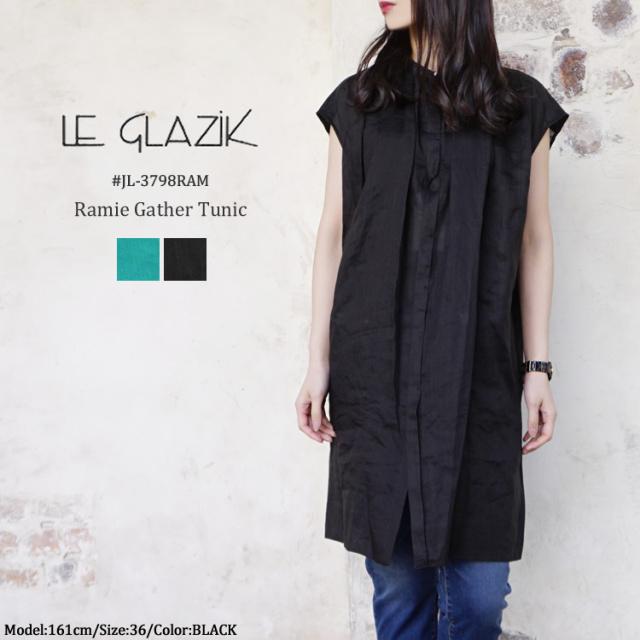ルグラジック ラミー ギャザー チュニック レディース トップス Le Glazik Ramie Gather Tunic LADIES<br>グリーン/ブラック 36/FREE #JL-3798RAM