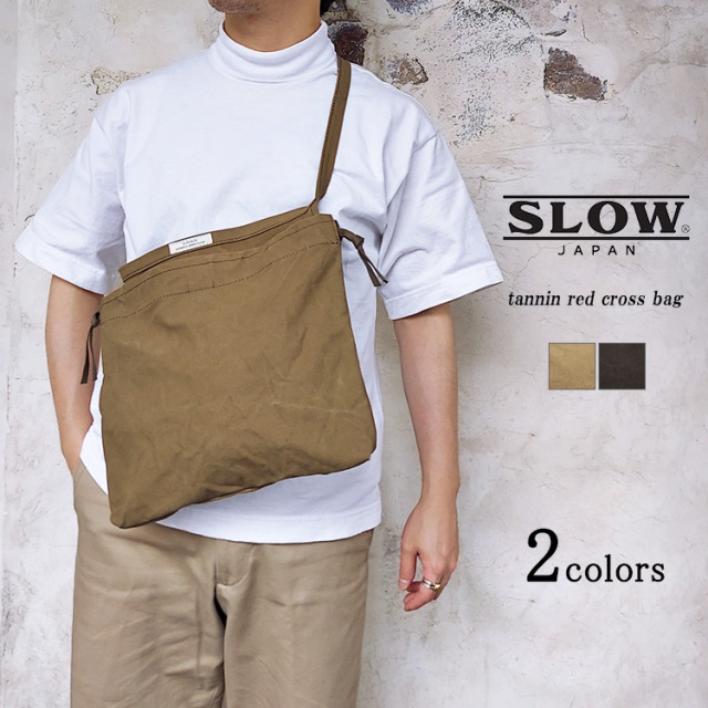SLOW スロウ tannin タンニン red cross bag レッドクロスバッグ 49S235I  倉敷帆布 巾着 コットン ブラック カーキ ユニセックス