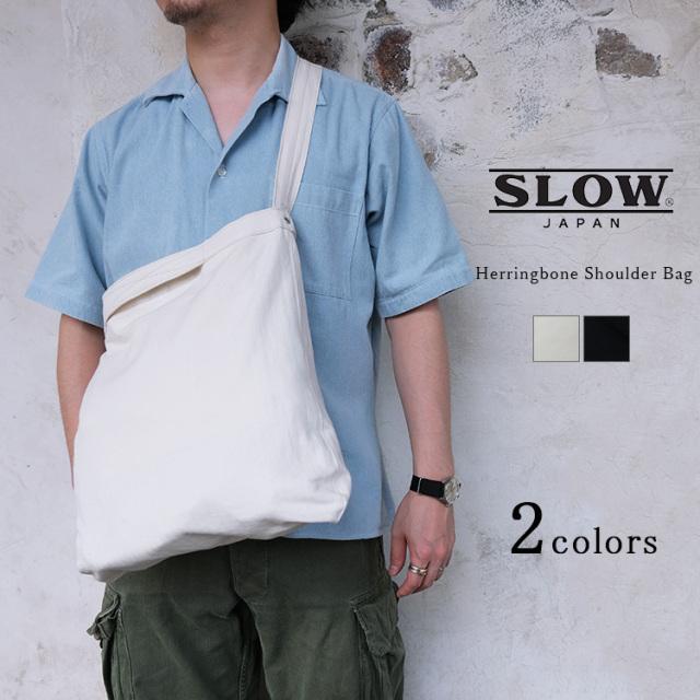 SLOW スロウ Herringbone Shoulder Bag ヘリンボーン ショルダーバッグ Sサイズ SO786J 国産帆布 サコッシュ アイボリー ブラック 日本製