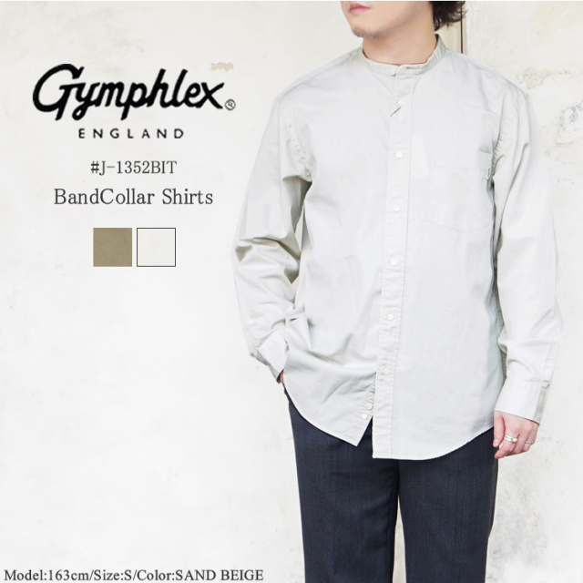 ジムフレックス バンドカラー シャツ メンズ トップス Gymphlex BandCollar Shirts MENS ブラウン/ベージュ S/M #J-1352BIT