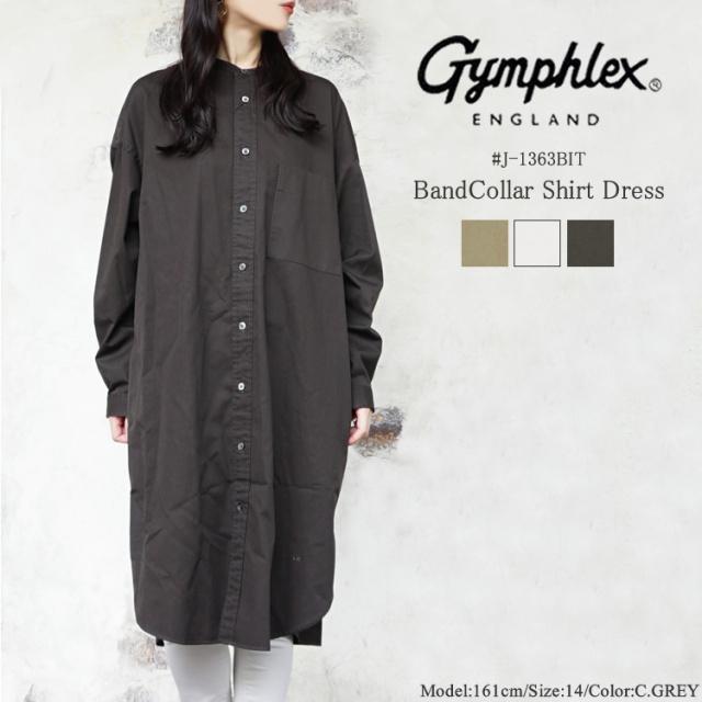 ジムフレックス バンドカラー シャツ ワンピース レディース トップス Gymphlex BandCollar Shirt Dress LADIES ブラウン/サンドベージュ/グレー 14 #J-1363BIT