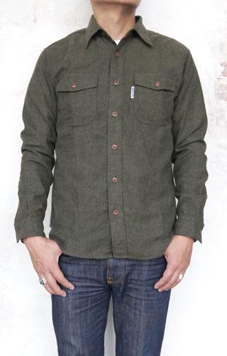 BLUEBLUE ST2101 ミニヘリンボーンネル ワークシャツ
