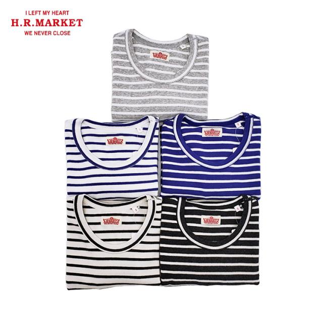 H.R.MARKET ハリウッドランチマーケット ストレッチフライス ボーダー クルーネック ショートスリーブTシャツ 半袖