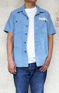 BLUE BLUE ST2176 サマーシャンブレー ステンシルフロントパッチ ネイビーシャツ メンズ オープンカラー 開襟 半袖