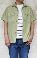 H.R.MARKET ST2079 ルースバックサテン アーミーシャツ メンズ ミリタリー 半袖 カーキ ベージュ