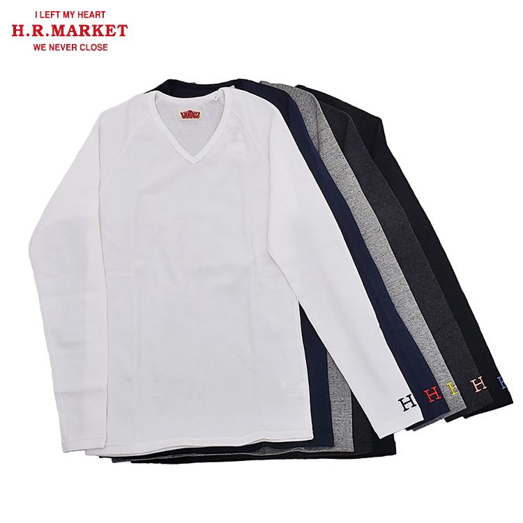 H.R.MARKET ハリウッドランチマーケット ストレッチフライス Vネック ロングスリーブTシャツ 長袖