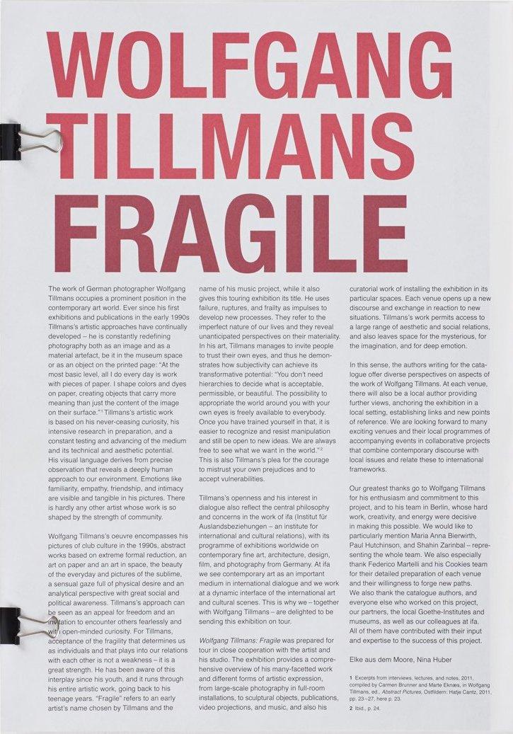 ヴォルフガング・ティルマンス写真集: WOLFGANG TILLMANS: FRAGILE