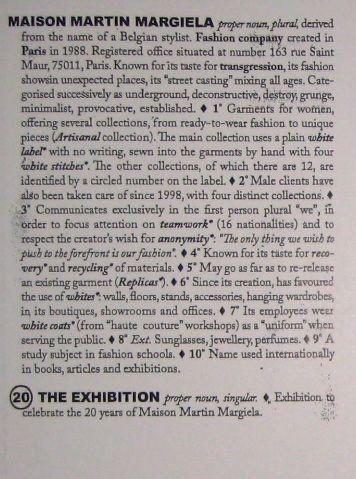 【古本】マルタン・マルジェラ展カタログ: MAISON MARTIN MARGIELA: 20 THE EXHIBITION