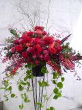 お祝い装花 スタンド花 赤系アレンジメント 開店祝い花 新宿配達