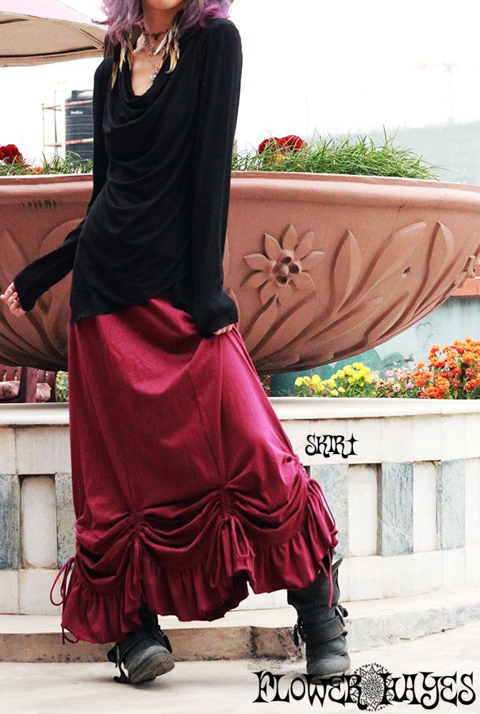 裾ボリューミー絞り上げ♪ジプシー変形ロングスカート【カラー*ワインレッド】L-LLサイズ