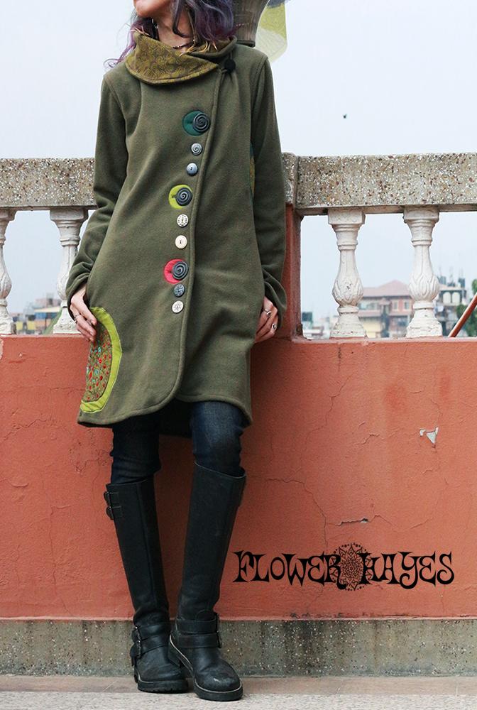 曼荼羅×刺繍パッチワーク*アソートボタン☆エリバイカラー♪フリース ジャケット【3カラー*パープル/ワインレッド/オリーブ】S/M M/Lサイズ