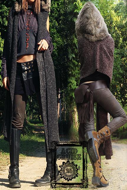 【Acid Cruise】Fur hooded magic stole【2カラー*ダークグレー/ダークブラウン】