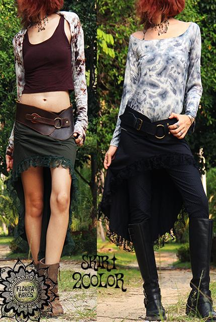 裾レース*変形フィッシュテール Gypsyスカート【2カラー*オリーブ/ブラック】 フリーサイズ