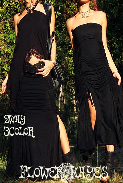 スーパーストレッチ素材*2way magic スカート&ワンピース【3カラー*オリーブ/ブラック/ブラウン】M-LLサイズ
