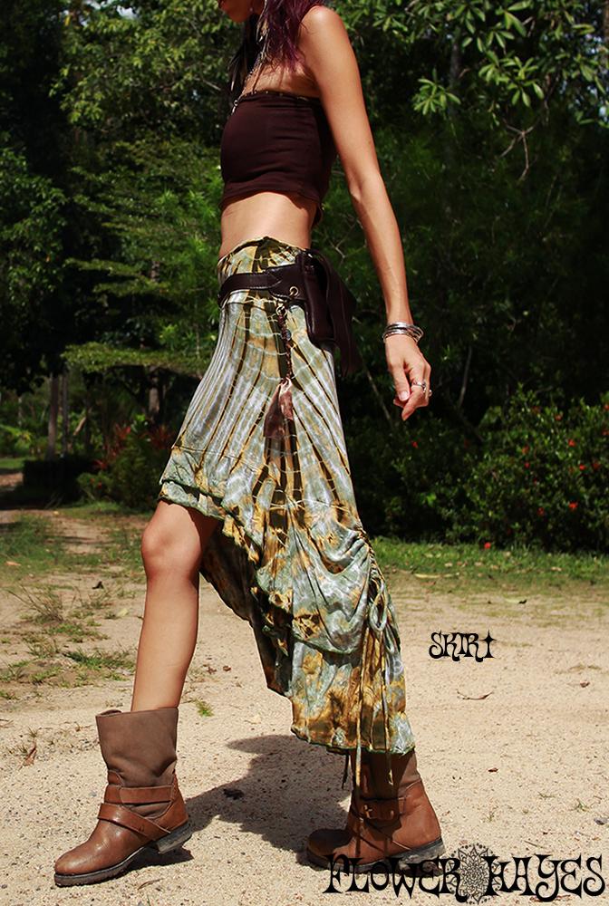 フェミニン 淡いカラータイダイ♪スーパーストレッチ☆2way バック絞りロング 変形スカート/チュニック【3カラー*A/B/C】フリーサイズ