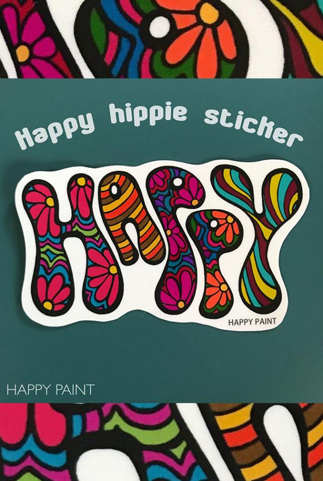 【HAPPY PAINT】Happy Hippie ステッカー  ※割引クーポン、セール対象外商品