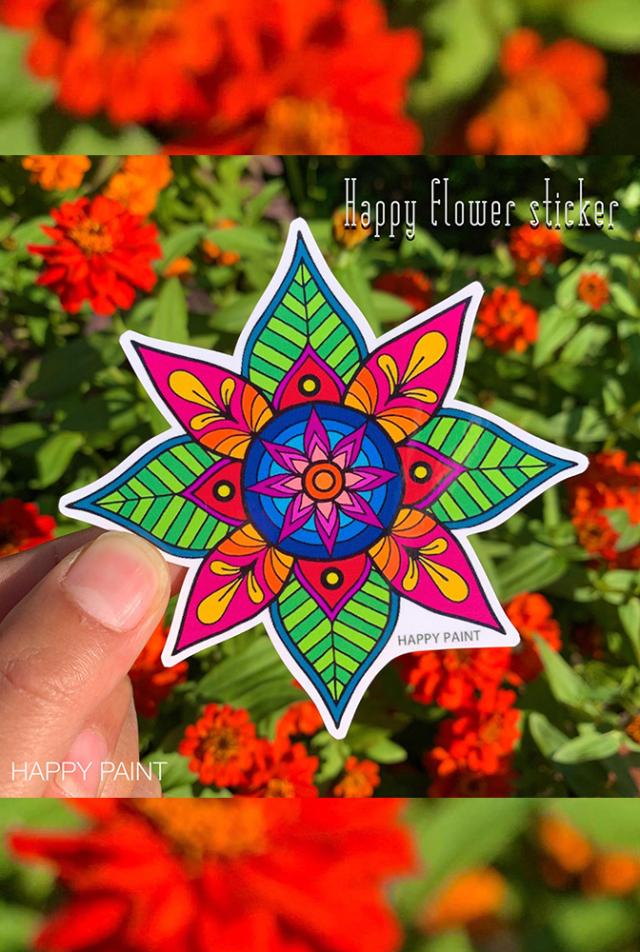 【HAPPY PAINT】Happy flowerステッカー  ※割引クーポン、セール対象外商品