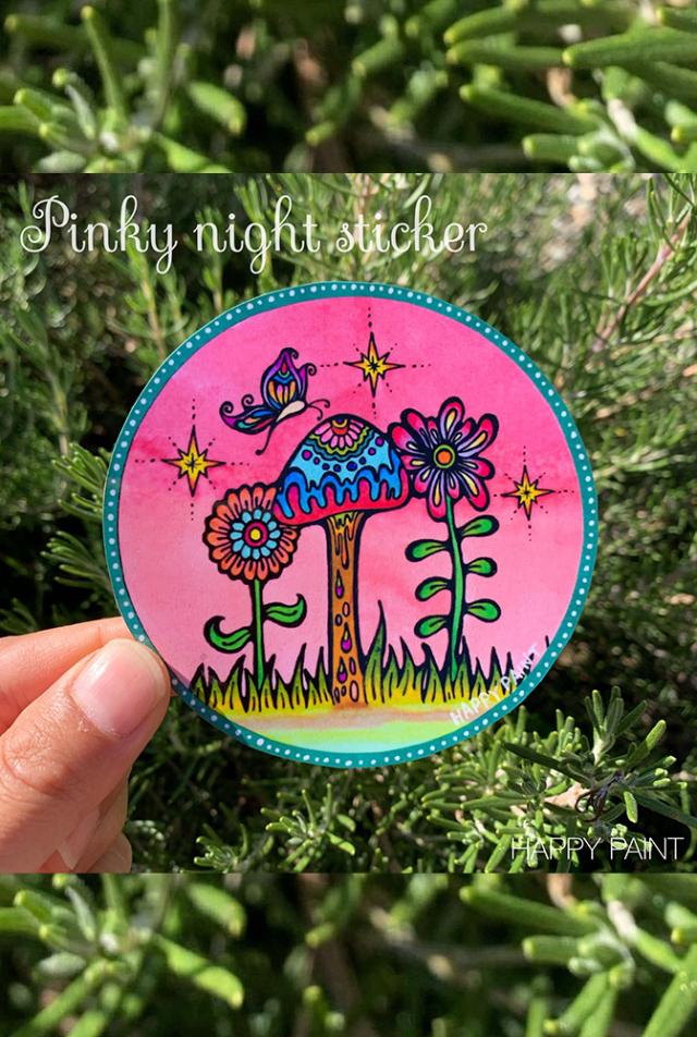 【HAPPY PAINT】Pinky night sticker  ※割引クーポン、セール対象外商品