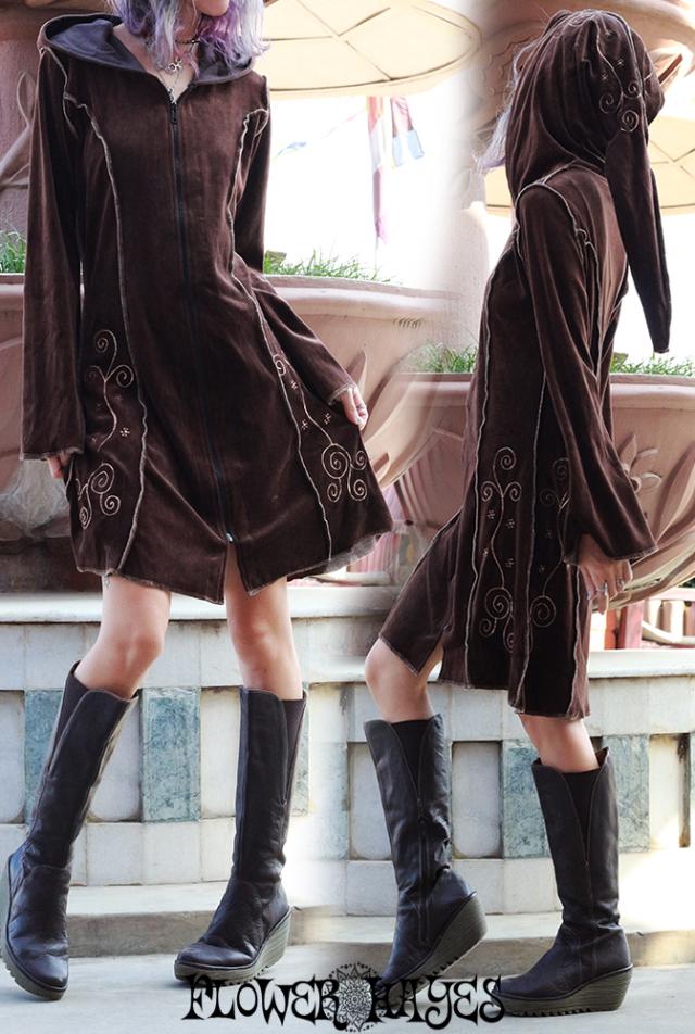 ベロア素材*ポイント刺繍*ピクシーフード zipアップ ワンピース【2カラー*ブラウン/ブラック】S-M M-Lサイズ