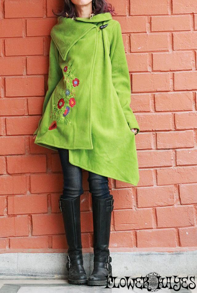 花刺繍*ボリュームBig襟×トグルボタン☆フリース フレアジャケット【カラー*ライムグリーン】S-M M-Lサイズ