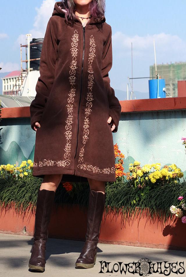 タロット柄 刺繍*フーディーzipアップ ロングフリースジャケット【3カラー*クリーム/ブラウン/ブラック】S-M M-Lサイズ