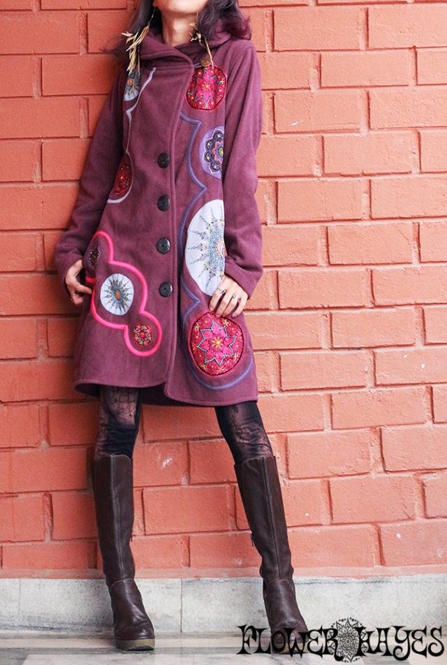 曼荼羅×刺繍パッチワーク*でかボタン☆丸襟♪フリース ジャケット【2カラー*オリーブ/ナチュラルパープル】S/M M/Lサイズ