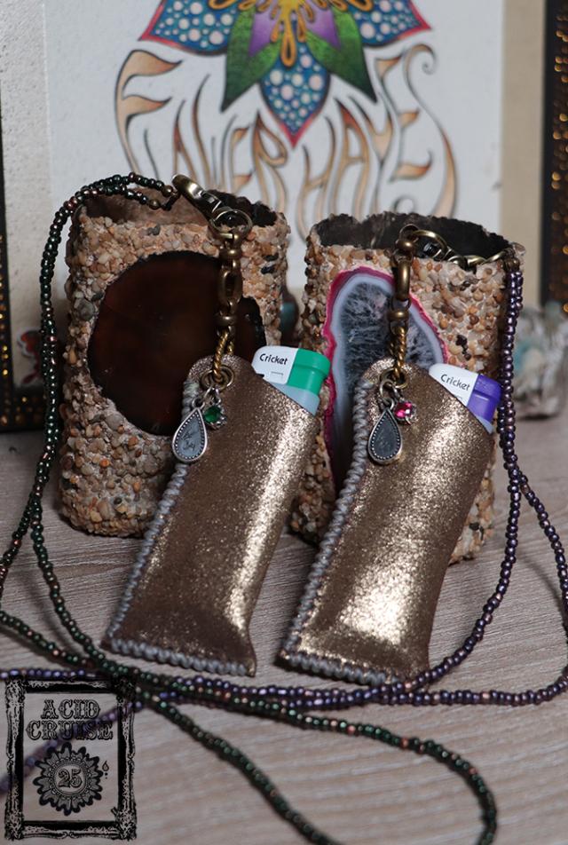 【Acid Cruise】ハンドメイド Free will leather lighter holder/ライターホルダー/電子タバコホルダー【2カラー】※割引クーポン、セール対象外商品
