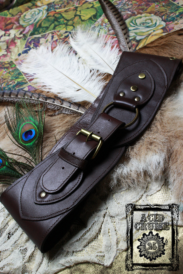 【Acid Cruise】Nocturnality leather belt/Ring belt【カラー*チョコレート】S Mサイズ