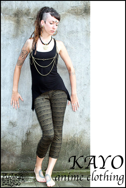 KAYO-Anime Clothing【Eclipse tribal legging/レギンス】color*BLACK*S Mサイズ