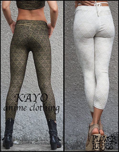 KAYO-Anime Clothing【Pyramid legging/レギンス】2color*BLACK/WHITE*S Mサイズ