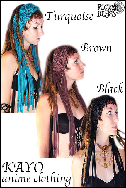 KAYO-Anime Clothing【Macrame head band/マクラメヘッドンバンド】3color*TURQUOISE/BROWN/BLACK フリーサイズ