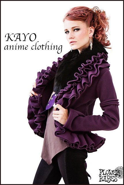 KAYO-Anime Clothing【Ruffle fleece jaket/ラッフルフリースジャケット】color*Purple S/Mサイズ