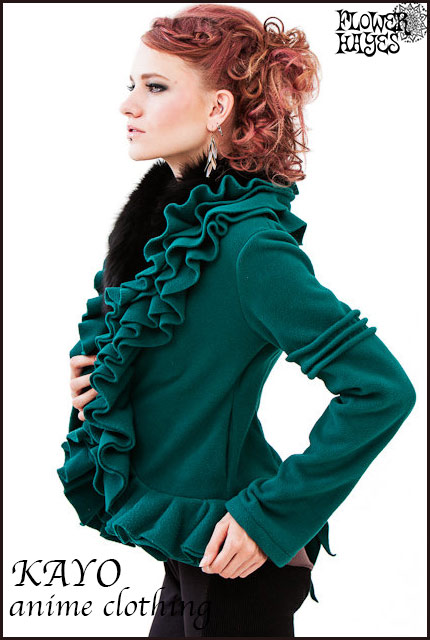 KAYO-Anime Clothing【Ruffle fleece jaket/ラッフルフリースジャケット】color*Emerald S/Mサイズ