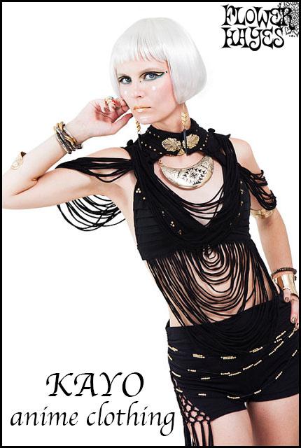 KAYO-Anime Clothing【Xavi string shoulder dress/クサビストリング ショルダードレス】color*BLACK フリーサイズ
