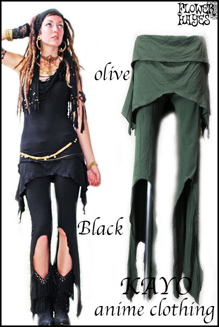 KAYO-Anime Clothing【Gypsy pixie skirt pants/パンツ】2color*BLACK/OLIVE*S Mサイズ