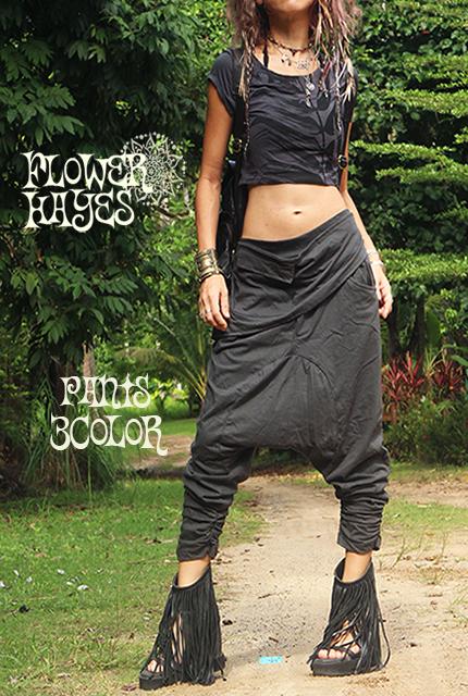 【ユニセックス】腰巻きスカートデザイン*スタイリッシュ サルエルパンツ【3カラー*ブラック/ダークブラウン/ダークグレー】フリーサイズ