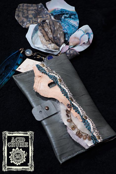 【Acid Cruise】ハンドメイド Free will leather cigarette case/巻きタバコケース/レザー巻きタバコポーチ【カラー*アッシュ】野外フェス レイブ ※割引クーポン、セール対象外商品