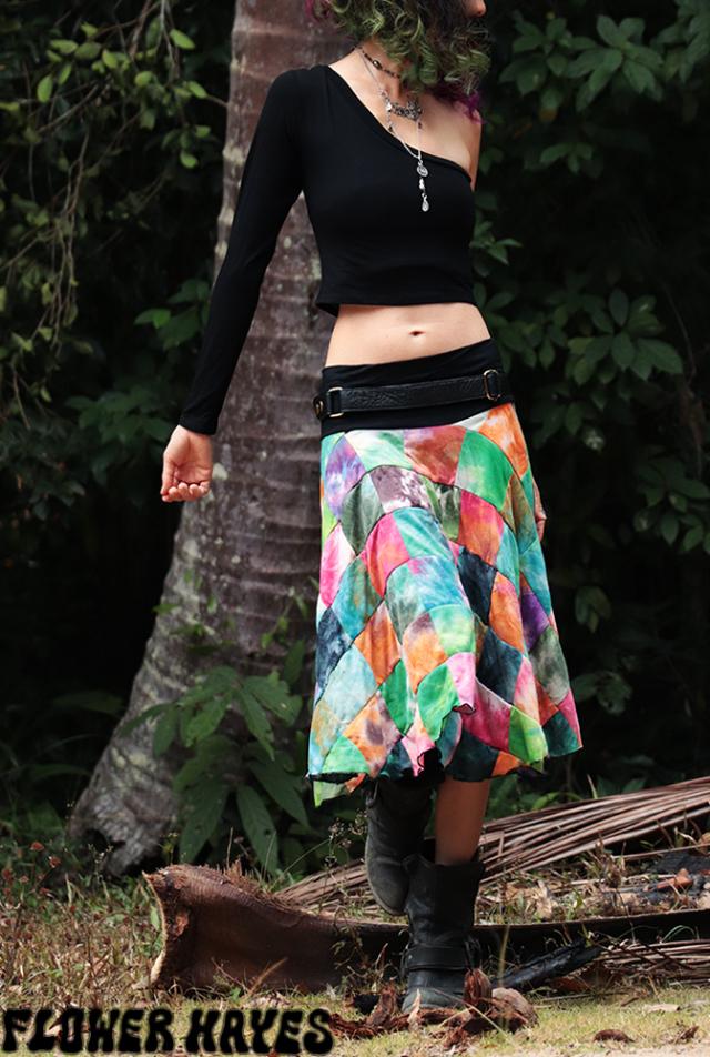 タイダイmixカラー ブロックパッチワーク♪スーパーストレッチ☆フレアミディアムスカート【2カラー*A/B】フリーサイズ