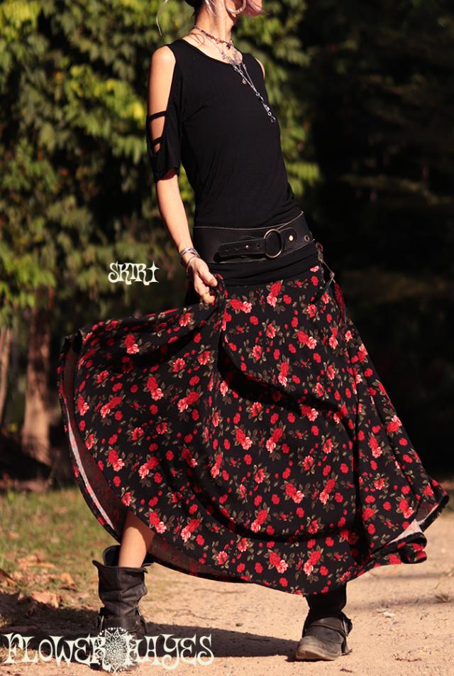 起毛素材♪花柄*スーパーストレッチ☆スーパーフレア ロングスカート【カラー*ブラック】フリーサイズ