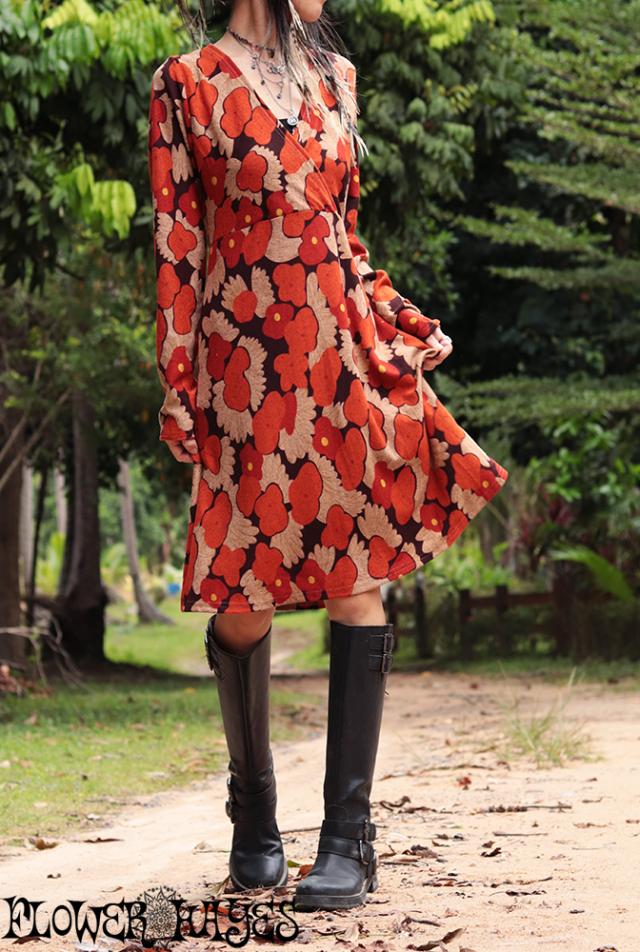 レトロ 花柄♪カシュクールデザイン*起毛素材☆ワンピース【2カラー*ピンク/オレンジ】フリーサイズ
