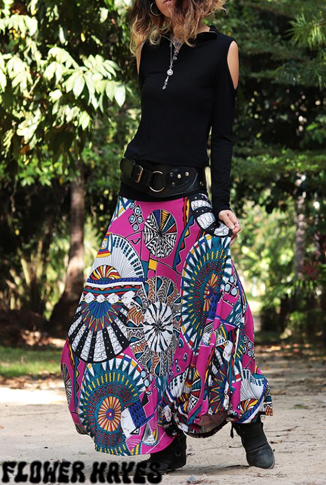 起毛素材♪ビビットカラー サイケデリック*スーパーストレッチ☆スーパーフレア ロングスカート【カラー*ビビットピンク】フリーサイズ
