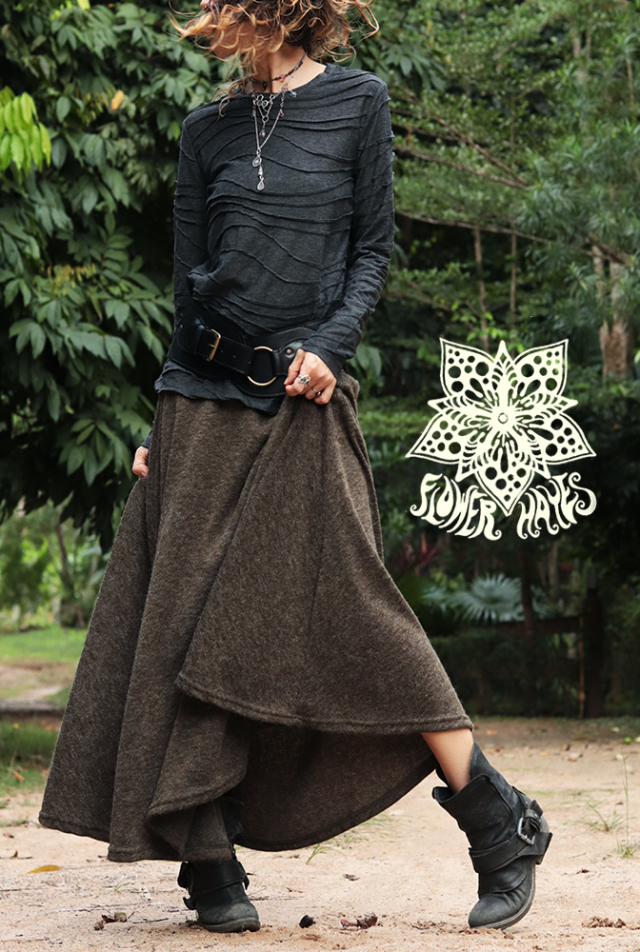 暖か厚手起毛素材♪スーパーストレッチ☆スーパーフレア ロングスカート【2カラー*オリーブ/ブラック】フリーサイズ