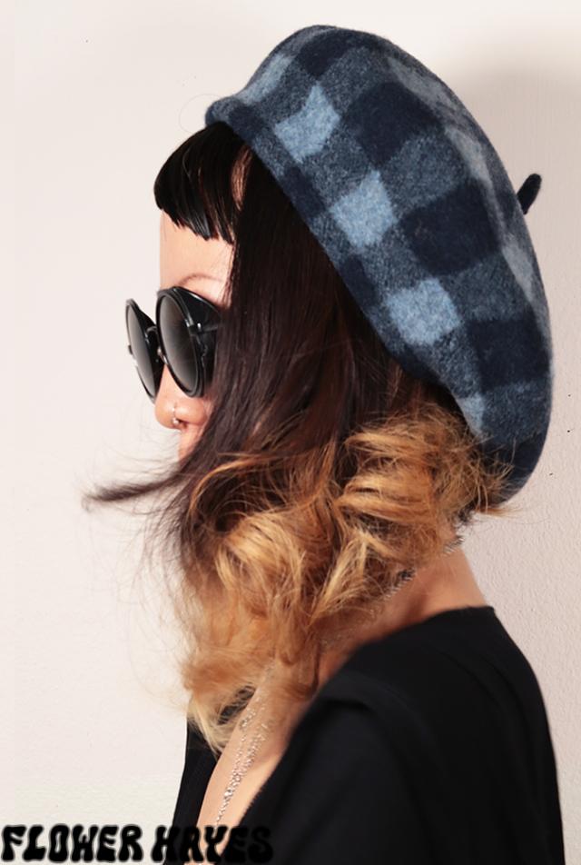 起毛素材♪ブロックチェック*ベレー帽【2カラー*ブラック/ブラウン】