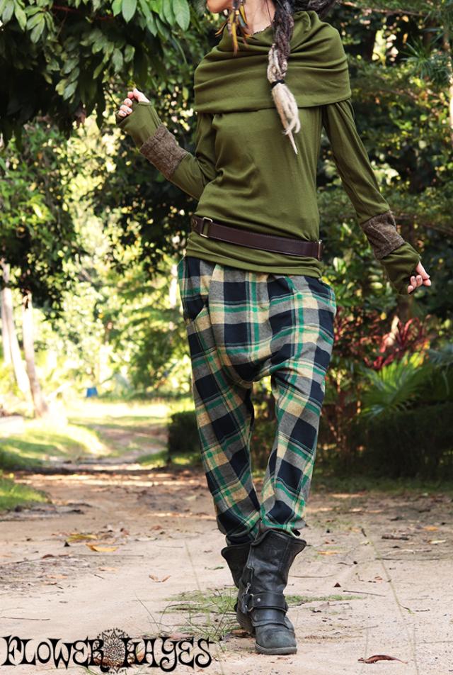 起毛素材★マドラスチェック*スーパーストレッチ♪ポケット付き サルエルパンツ【カラー*ブラック×グリーン×マスタード】フリーサイズ