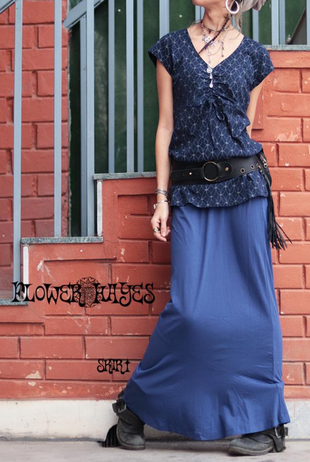 バンブー×オーガニックコットン×スパンデックス素材♪切り替えフレアロングスカート【カラー*クラッシックブルー】Mサイズ