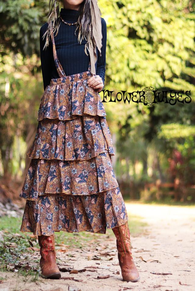レトロガーリー♪小花柄ボリューミー ティアード*サロペットロングスカート【2カラー*A/B】フリーサイズ