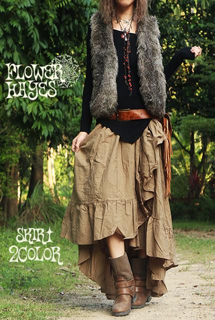 ボリューミーフリルデザイン*ジプシー変形ロングスカート【2カラー*ブラック/ベージュ】フリーサイズ