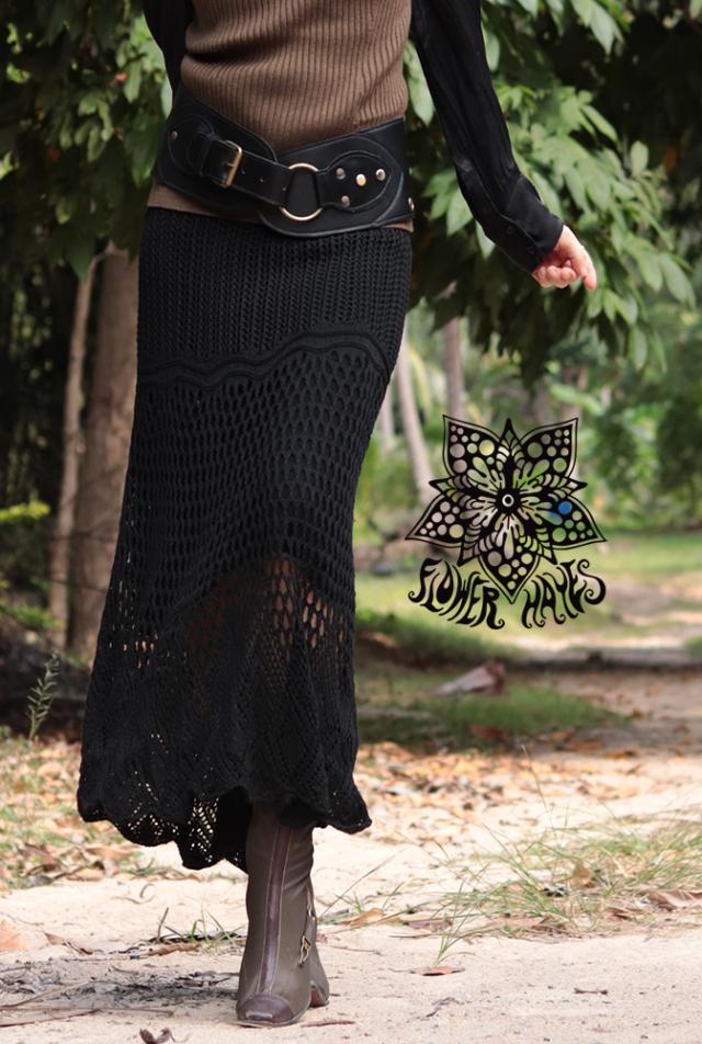 クロシェ♪ニットロングスカート【カラー*ブラック】フリーサイズ