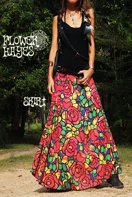 Psychedelic art flower 花柄*スーパーストレッチ☆パッチワーク♪フレア ロングスカート【フリーサイズ】
